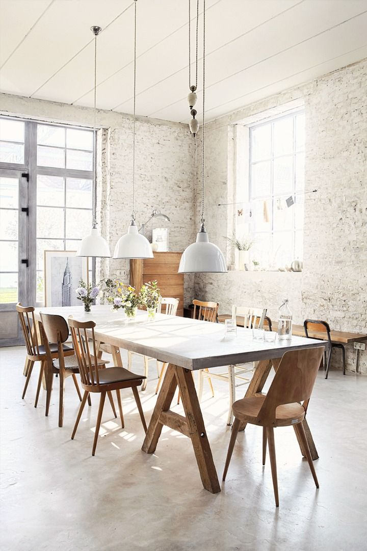 High Ceiling, Light Walls, Large Dining Room Table