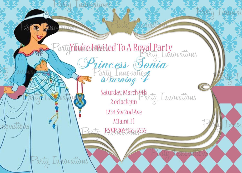 printable princess jasmine aladdin birthday party invitation plus free thank you card 800 via etsy