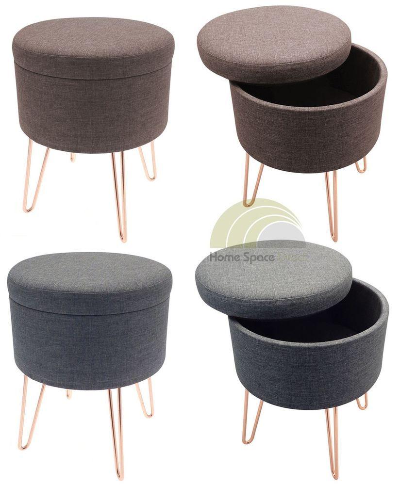 Peachy Blue Or Brown Storage Footstool Round Pouffe Stool Foot Rest Inzonedesignstudio Interior Chair Design Inzonedesignstudiocom