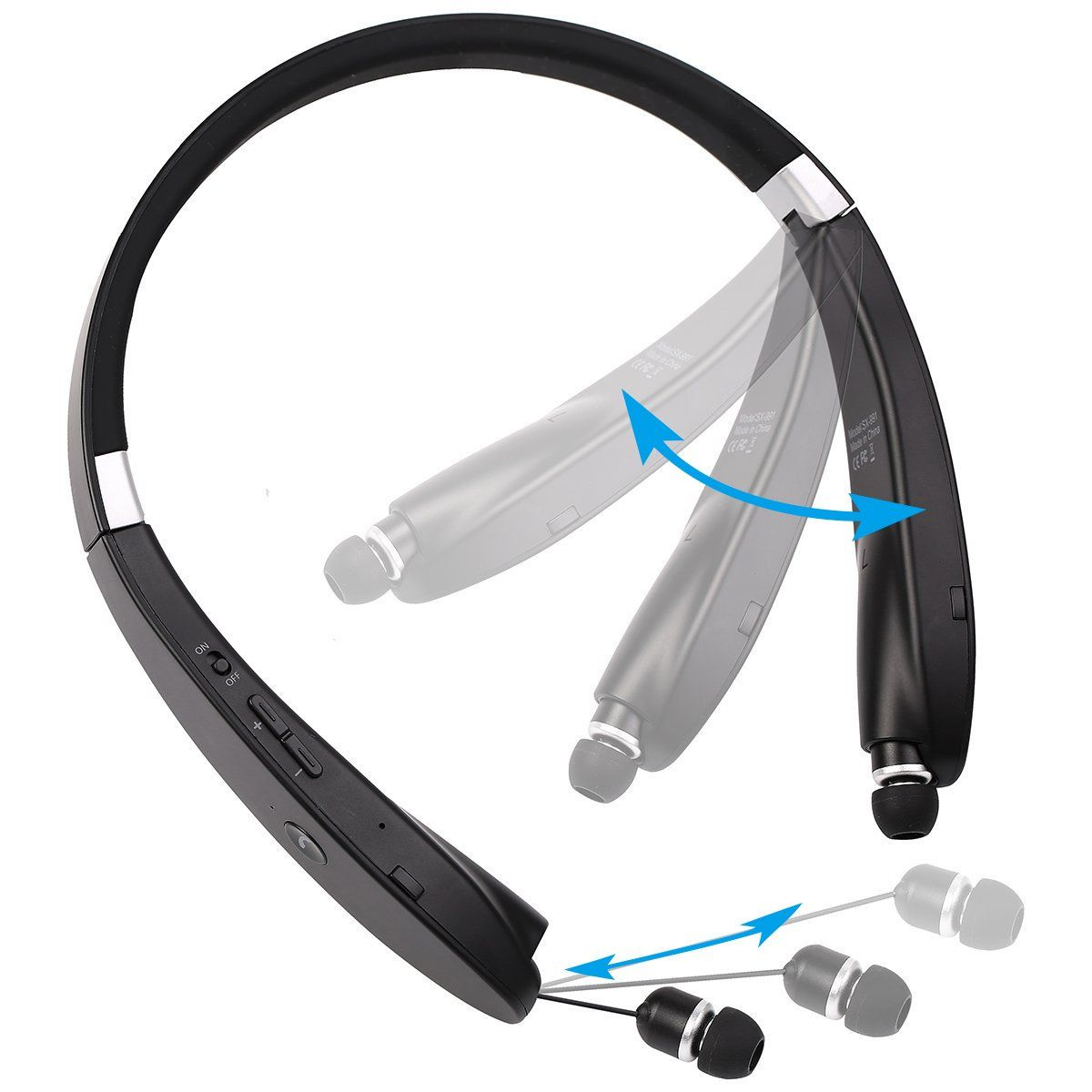 460fb926477 VICBAY SX-991 Bluetooth Headset, Wireless Neckband Bluetooth Headphone with  Mic, Retractable earbuds