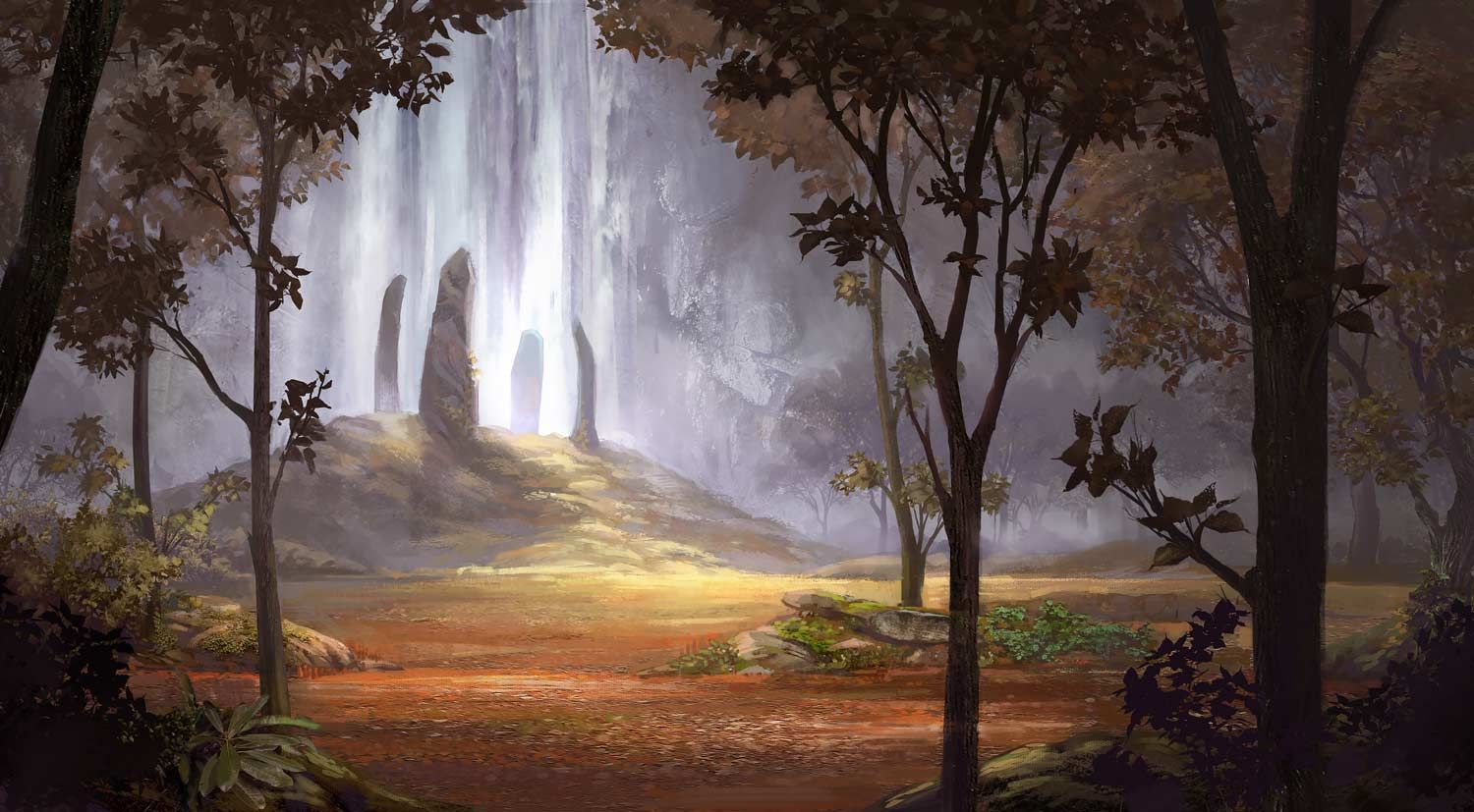 Standing-stones by Kaeriya forest autumn fall clearing Stonehenge portal gateway landscape location environment architecture   Create your own roleplaying game material w/ RPG Bard: www.rpgbard.com   Writing inspiration for Dungeons and Dragons DND D&D Pathfinder PFRPG Warhammer 40k Star Wars Shadowrun Call of Cthulhu Lord of the Rings LoTR + d20 fantasy science fiction scifi horror design   Not Trusty Sword art: click artwork for source