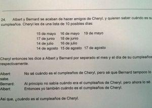 El cumpleaños de Cheryl  el problema de lógica que fríe neuronas en internet