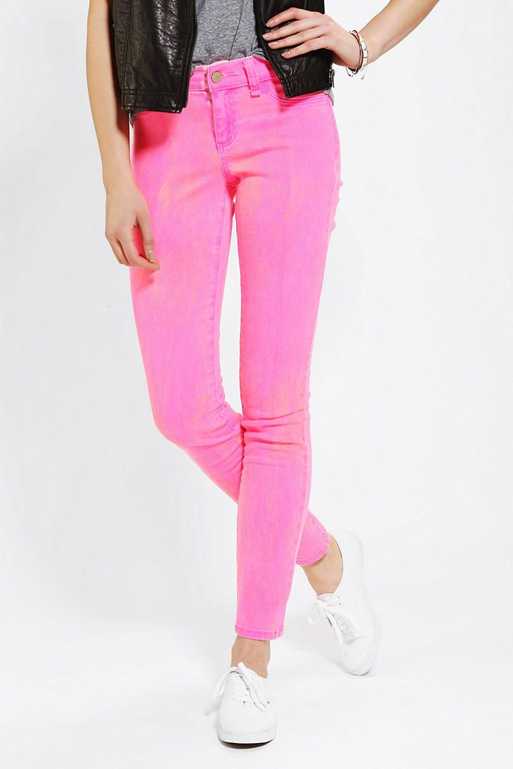 Pink Neon skinny jeans rare photo