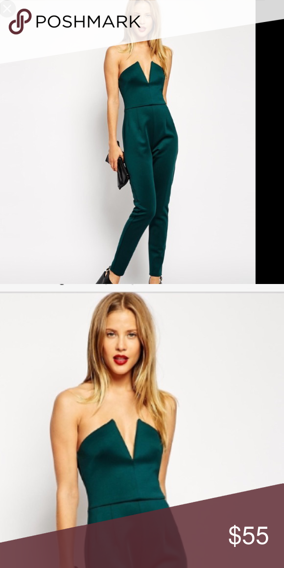 ➕plus size Strapless jumpsuit I love this jumpsuit!!! I just don't have the boobs for it! It's very comfortable and stretchy.  Never worn. Can fit up to a size 18 ASOS Curve Pants Jumpsuits & Rompers