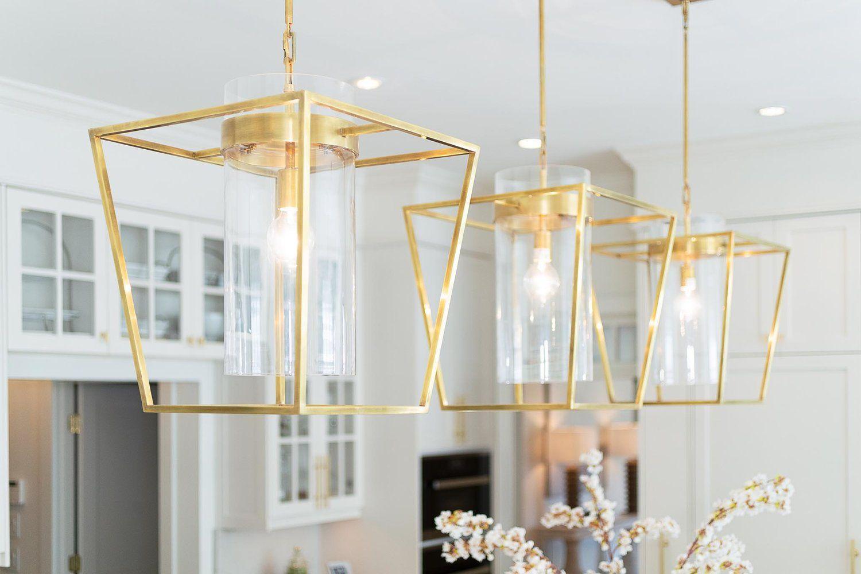 Brushed gold pendant lights above kitchen island. | Gold ...