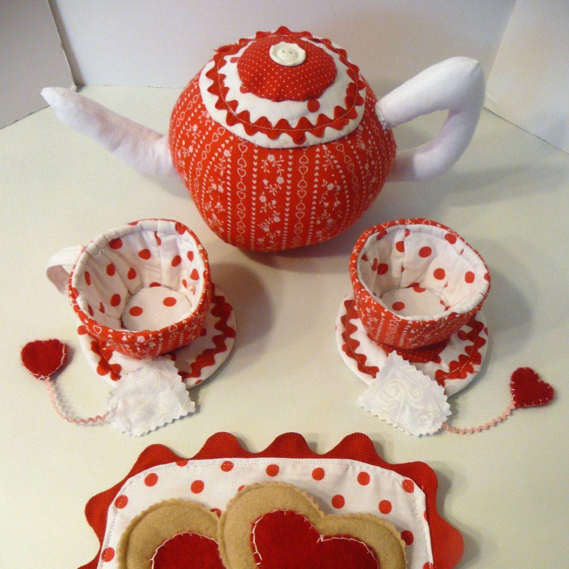 Fabric Tea Set, Pretend Tea Set, Valentine Gift for Kids, Pretend Play, Imaginative Play, Plush Tea Set, Play Tea Set, Valentine Tea Set by ForTheLuvOfThread on Etsy