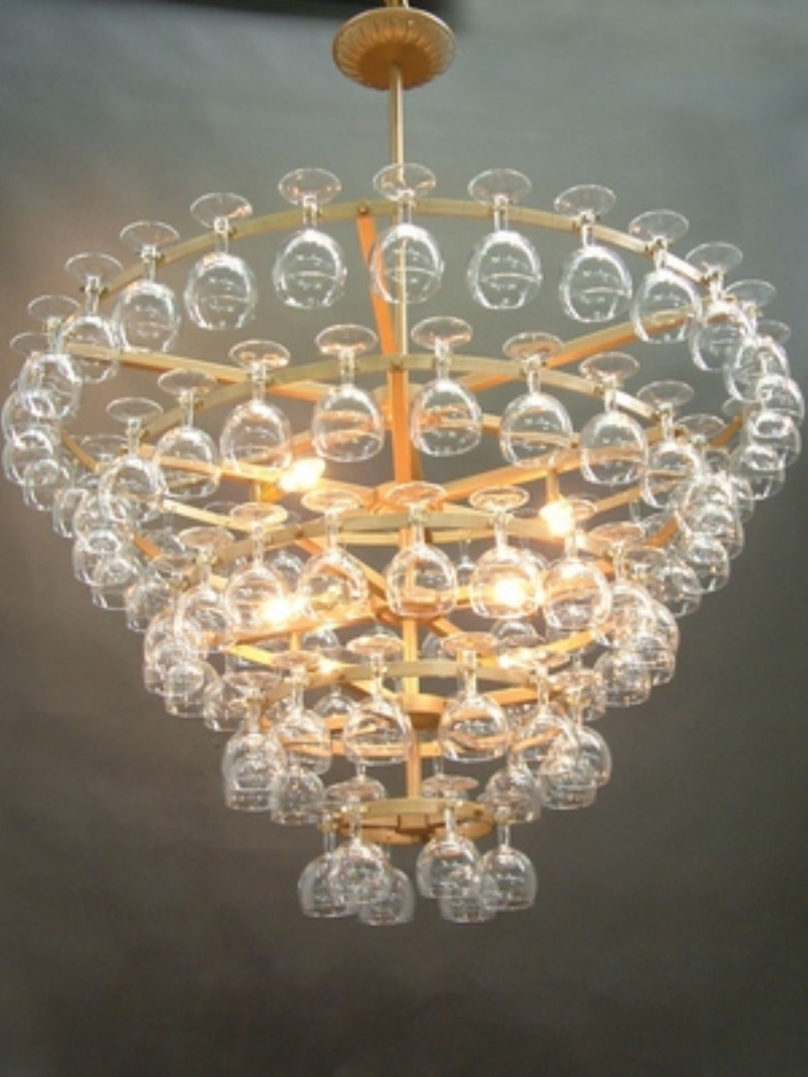 Large wine glass chandelier with brass effect for the home large wine glass chandelier with brass effect arubaitofo Choice Image