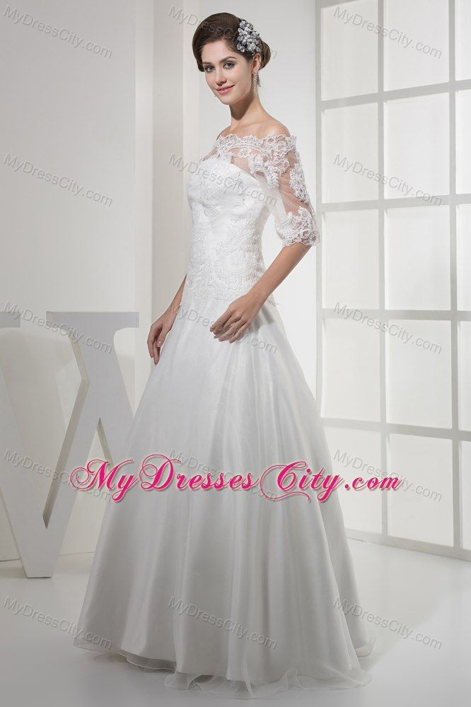 Lace Wedding Dress With Off The Shoulder Sleeves Lace Wedding Dress With