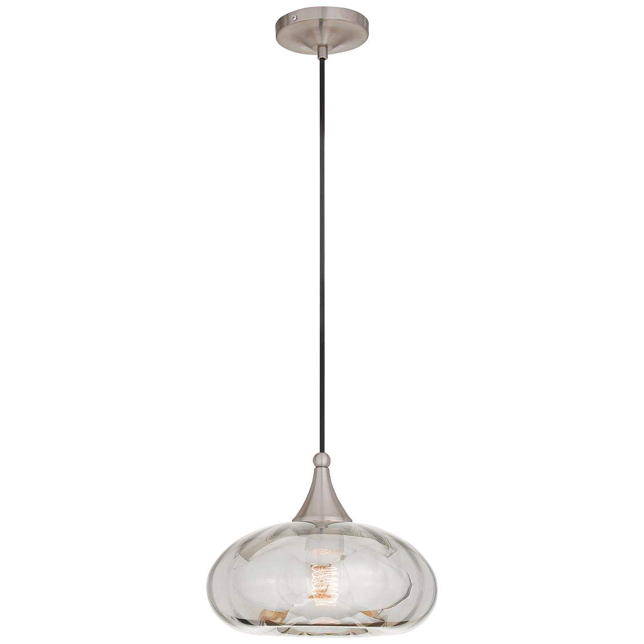 Art Glass 9 1 2 Wide Brushed Nickel Mini Pendant 55j33 Lamps Plus In 2021 Brushed Nickel Pendant Lights Mini Pendant Glass Art