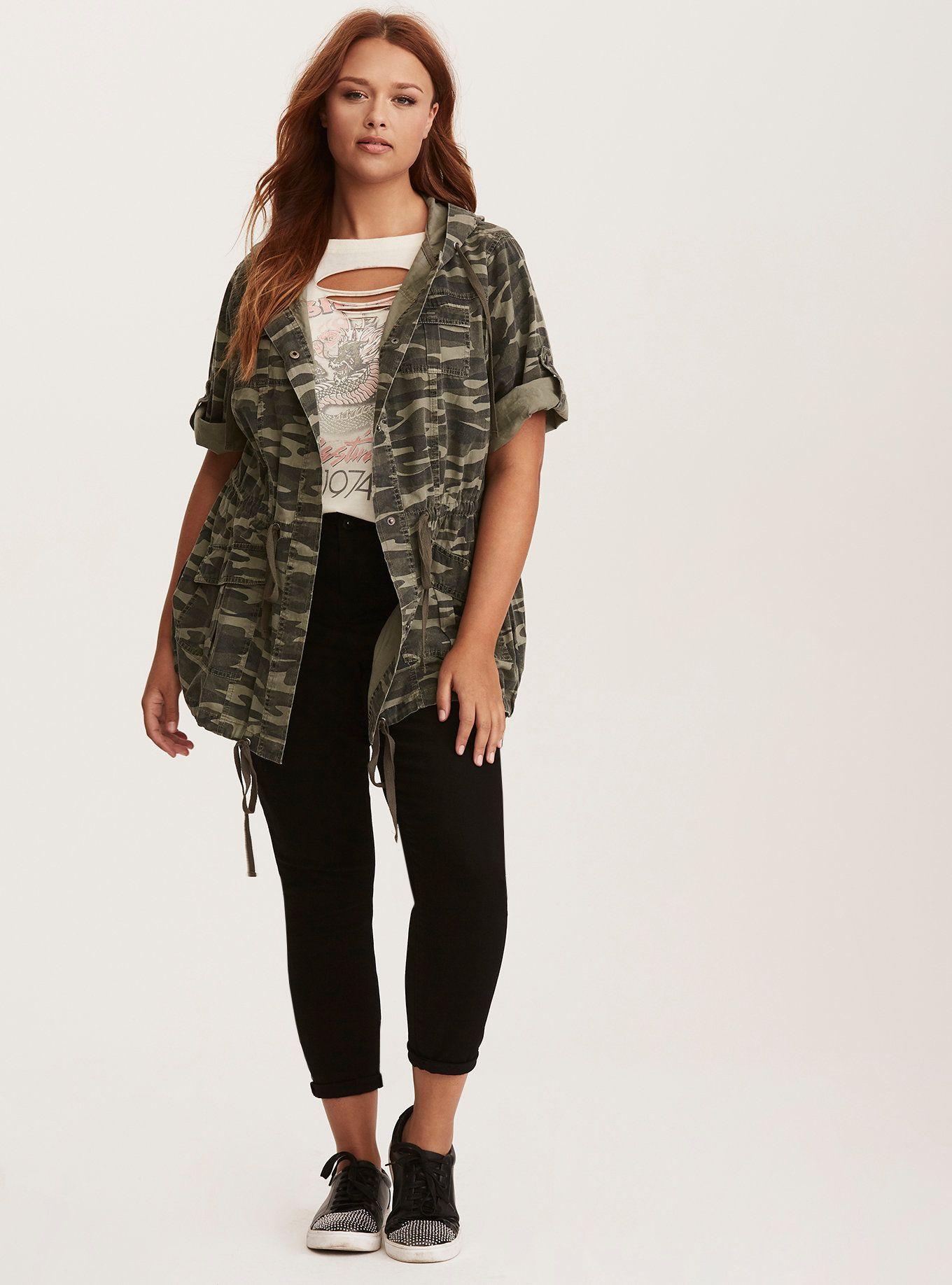 9613bdfea66514 Camo Print Short Sleeve Anorak Jacket | My Style | Camo print ...