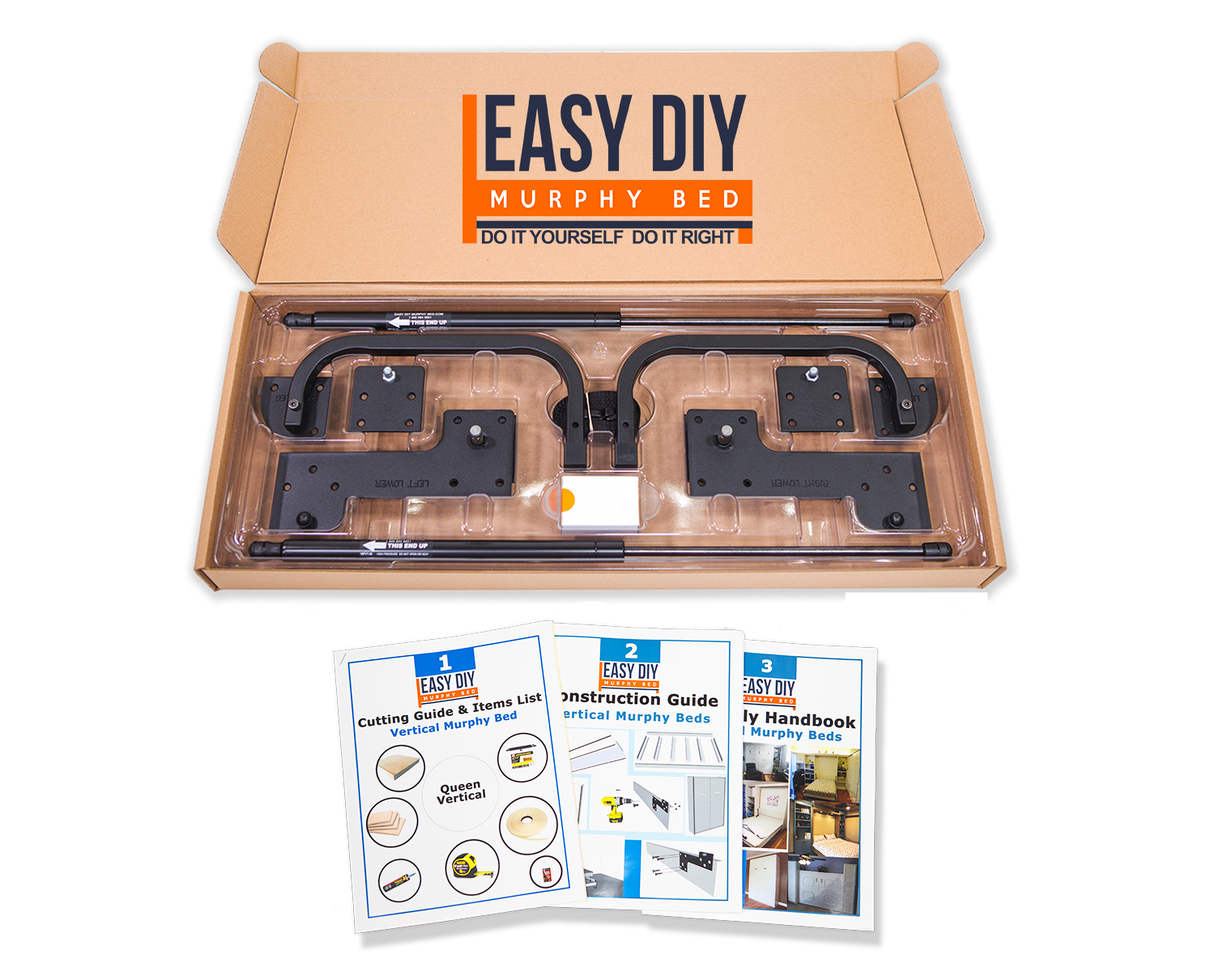 Vertical Full (Double) Size Kit Easy DIY Murphy Bed in