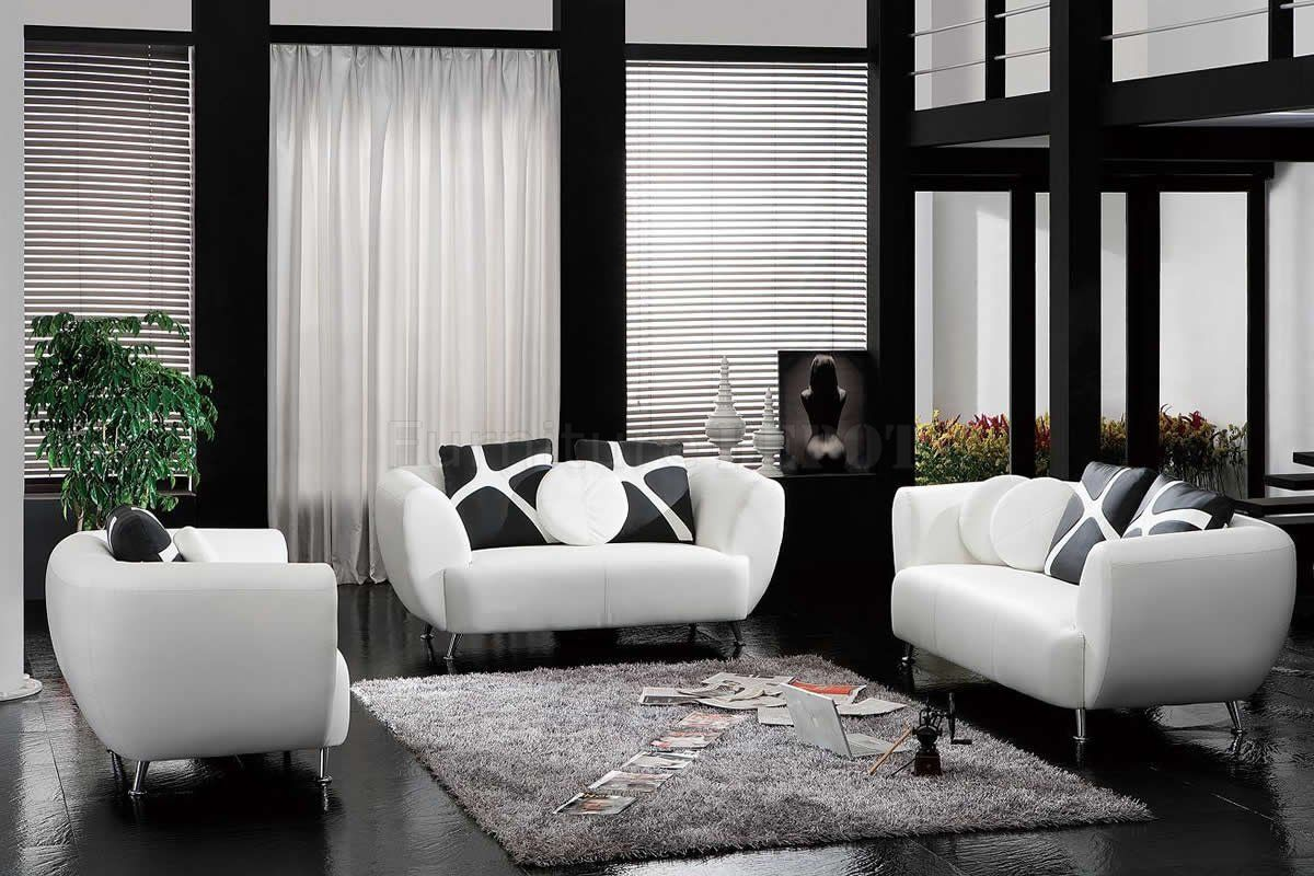 Leather Sofa Along With Black And White