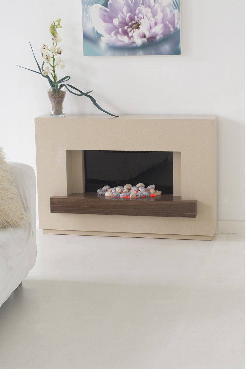 Adam sambro fireplace suite in stone effect with walnut shelf