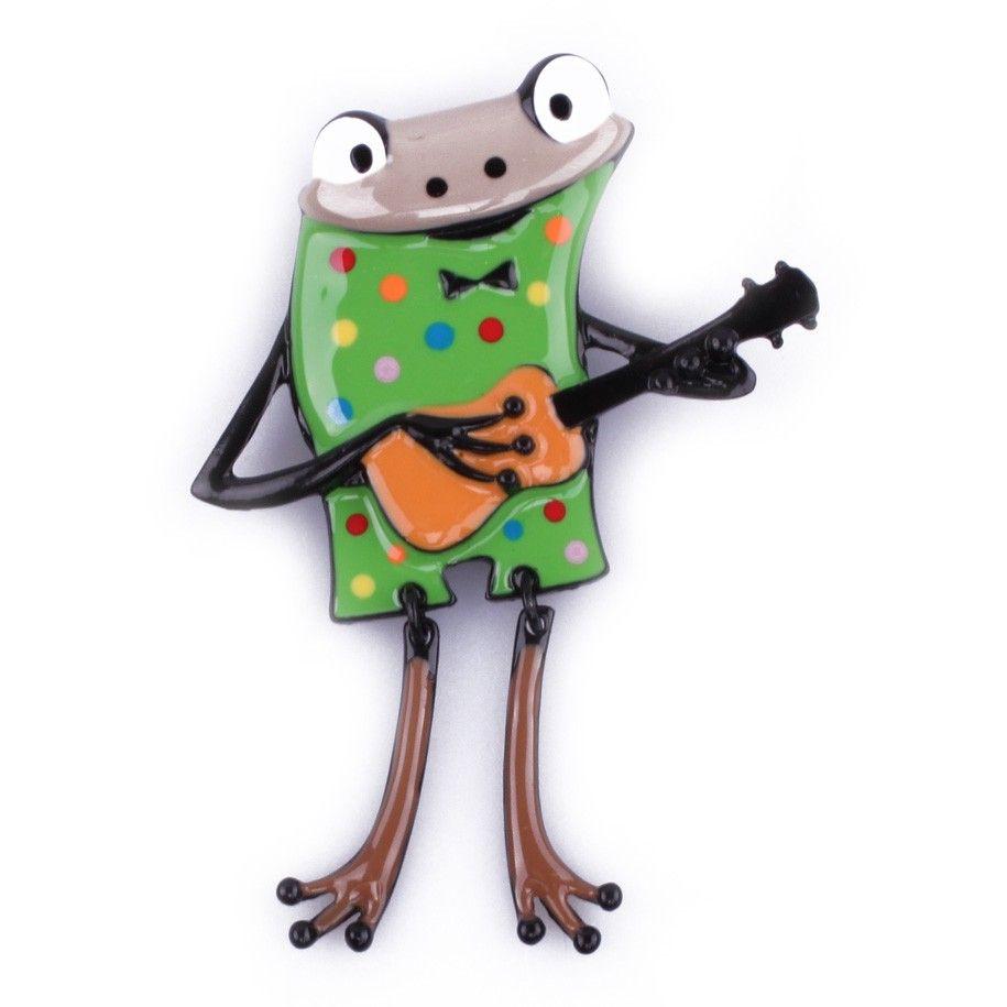Broche grenouille à guitare verte pois multicolores