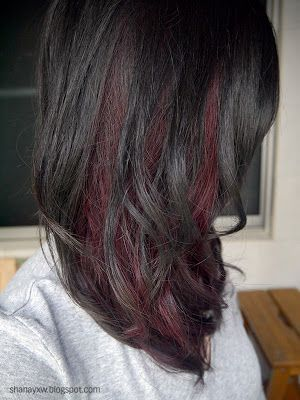 Black hair with red highlights hairstyles are available with violet red peek a boo highlights pmusecretfo Choice Image