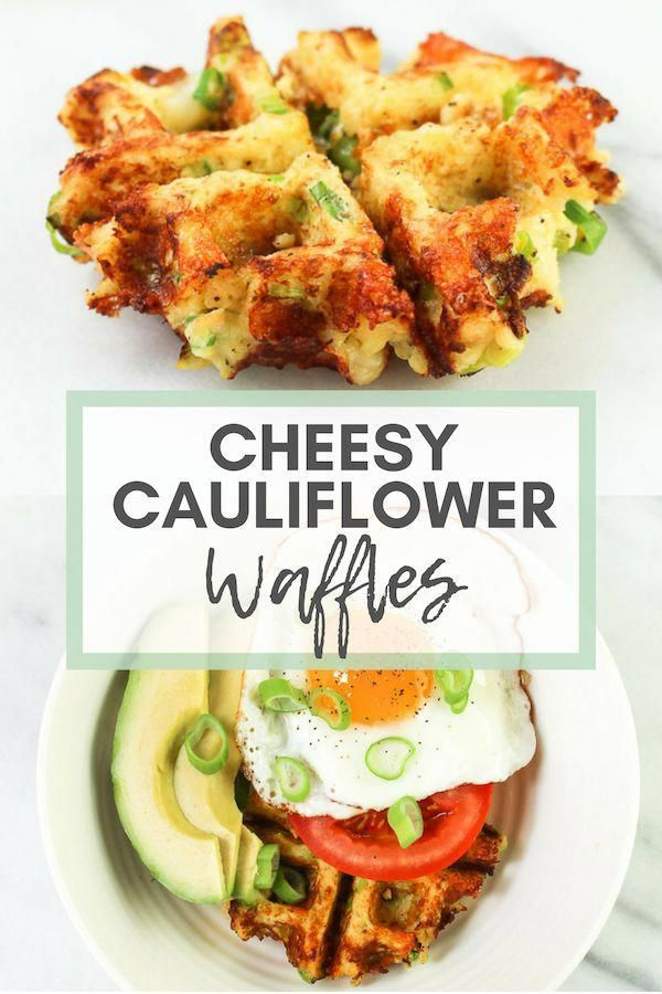 """Cheesy Cauliflower Waffles -Take out your waffle maker and whip up a batch of these Cheesy Cauliflower Waffles (aka. """"Cauli-Waffles"""") for a fun new breakfast! via Chef Julie Harrington, RD @ChefJulie_RD #waffle #cauliflower #cauliflowerrice #lowcarb #keto #breakfast #brunch #cheesy #glutenfree #DeliciousKetoRecipes"""