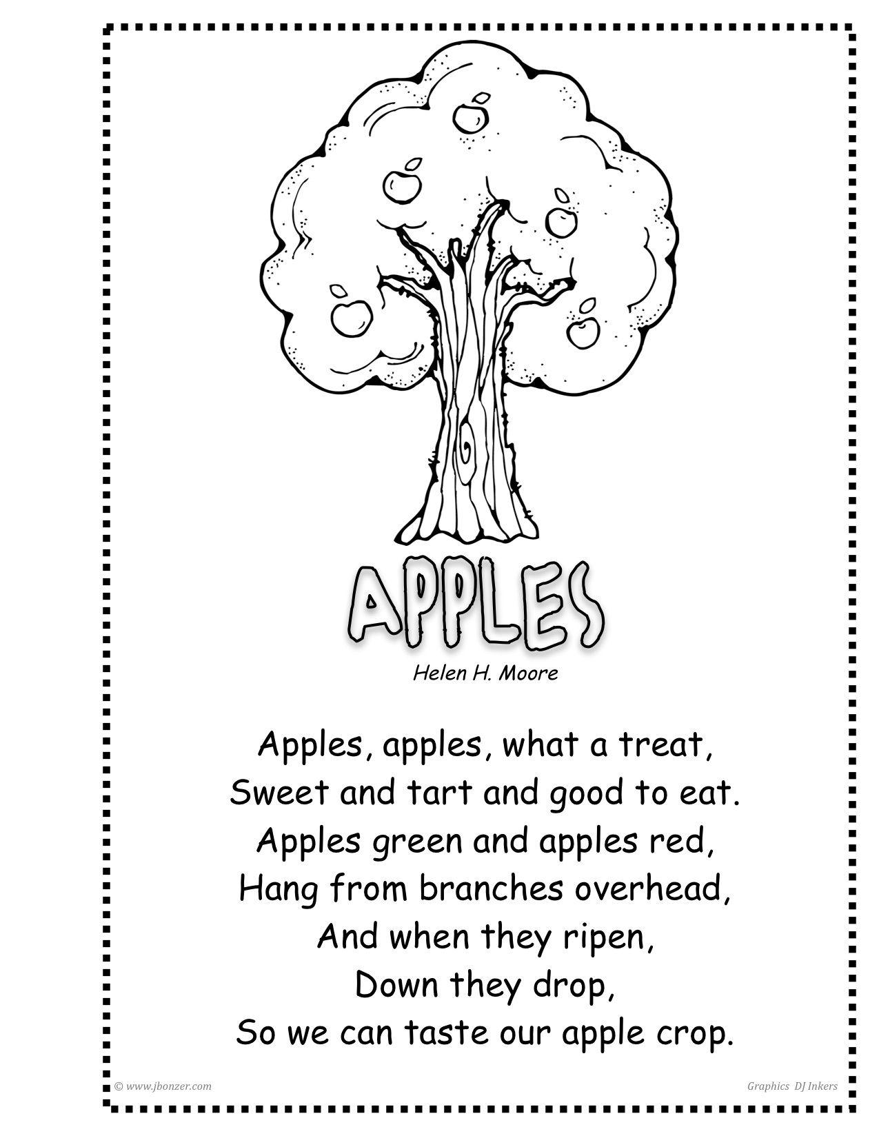 Appletreebyjudybonzer Jpeg 1 275 1 651 Pixels Rhyming Worksheet Apple Unit Preschool Weather