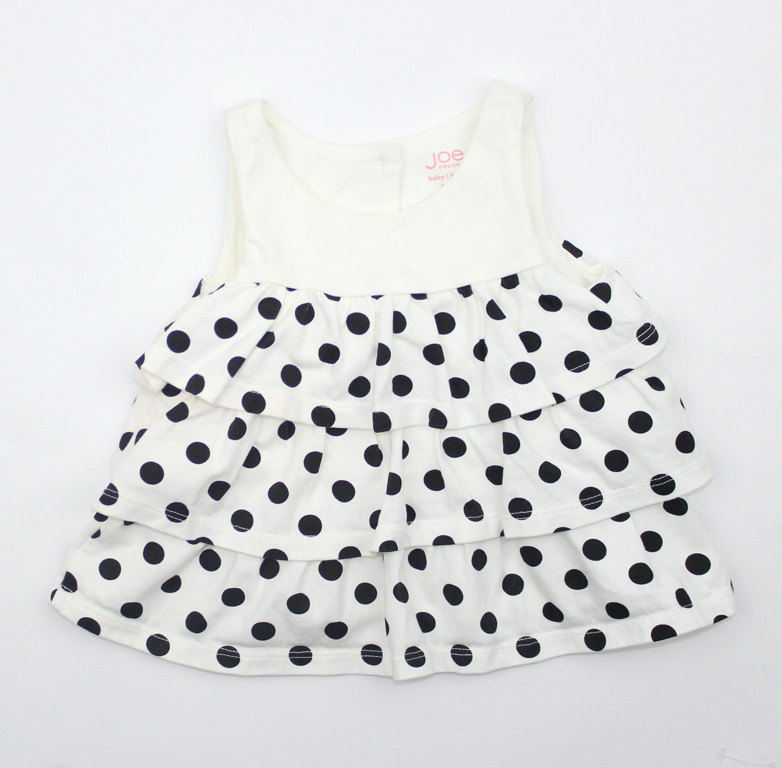 Baby Girl Summer Dress in Cream with Black Polka Dots Size 3 6