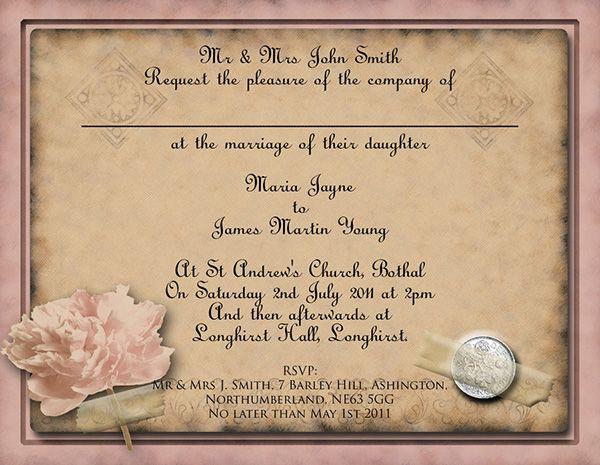 Free Printable vintage rosse wedding invitations theme - microsoft templates invitations