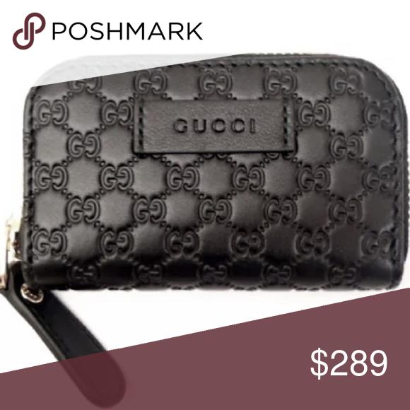 6efb43f6c8a1 Gucci #449896 Micro-GG Small Leather Money Case - Black GG Micro-Guccissimma