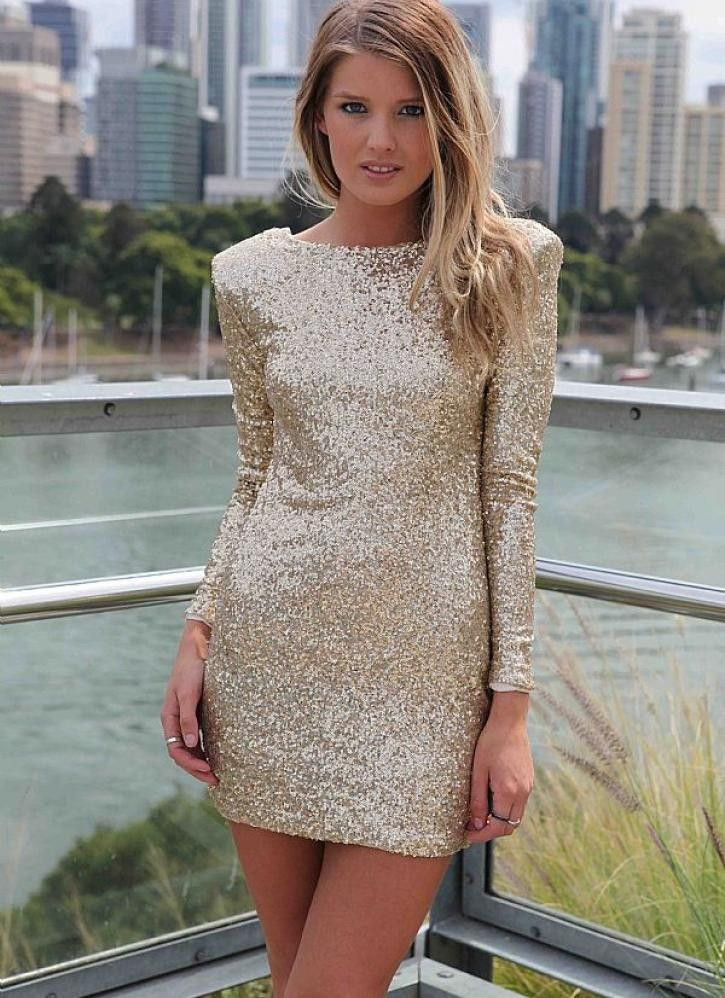 Gold sequin long sleeve bodycon dress mini dress outfits