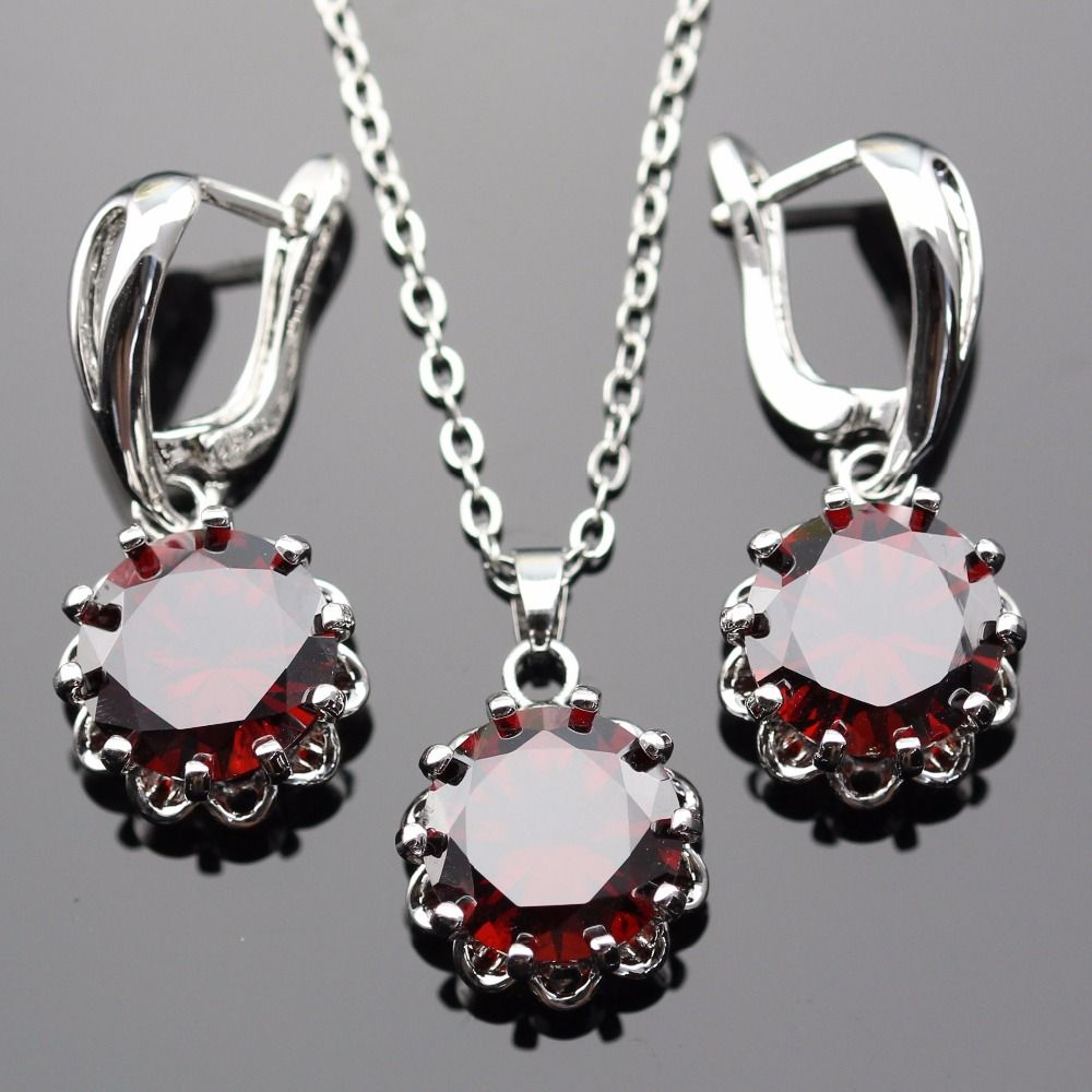 Lan romantic geometric shaped fashionable jewelry sets red aaa