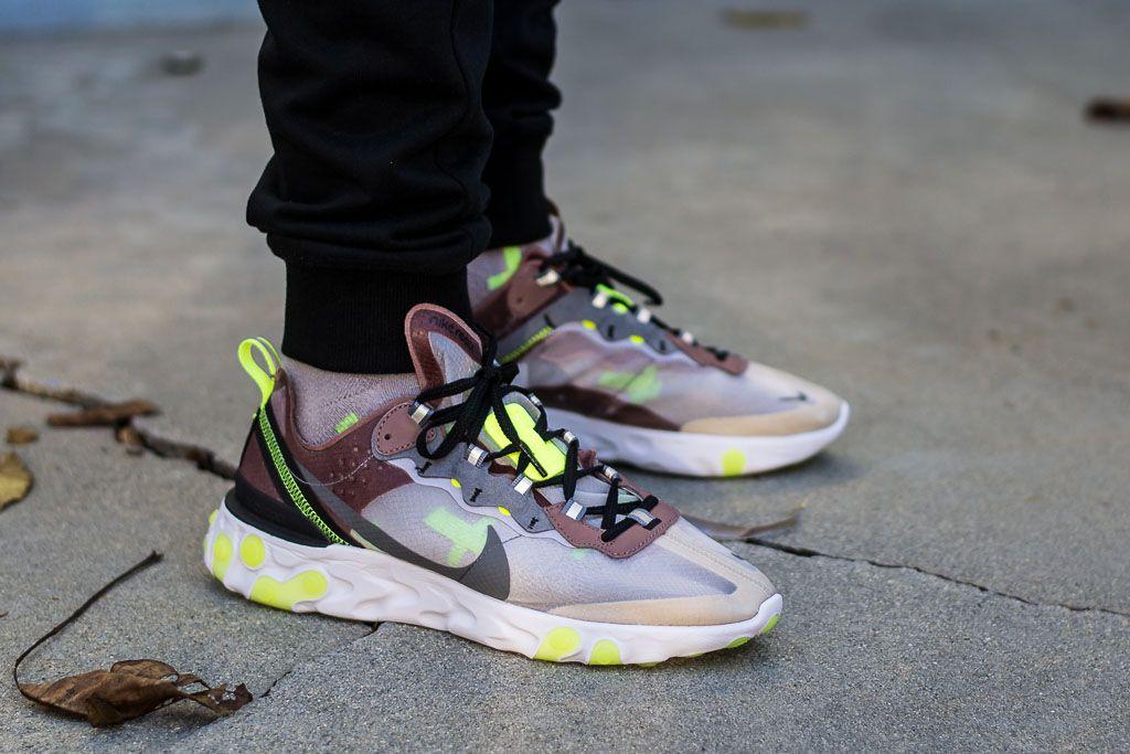 eff7ed699ccf Nike React Element 87 Desert Sand On Feet Sneaker Review