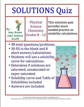 Solutions Quiz Chemistry Chemistry Teacher Newsletter Teaching