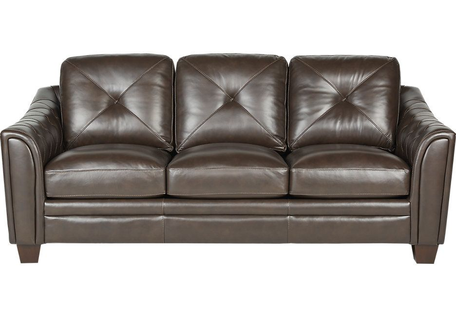 Cindy Crawford Home Marcella Coffee Leather Sofa 877 0 86w X 39d 36h Find Affordable Sofas For Your That Will Complement The Rest Of