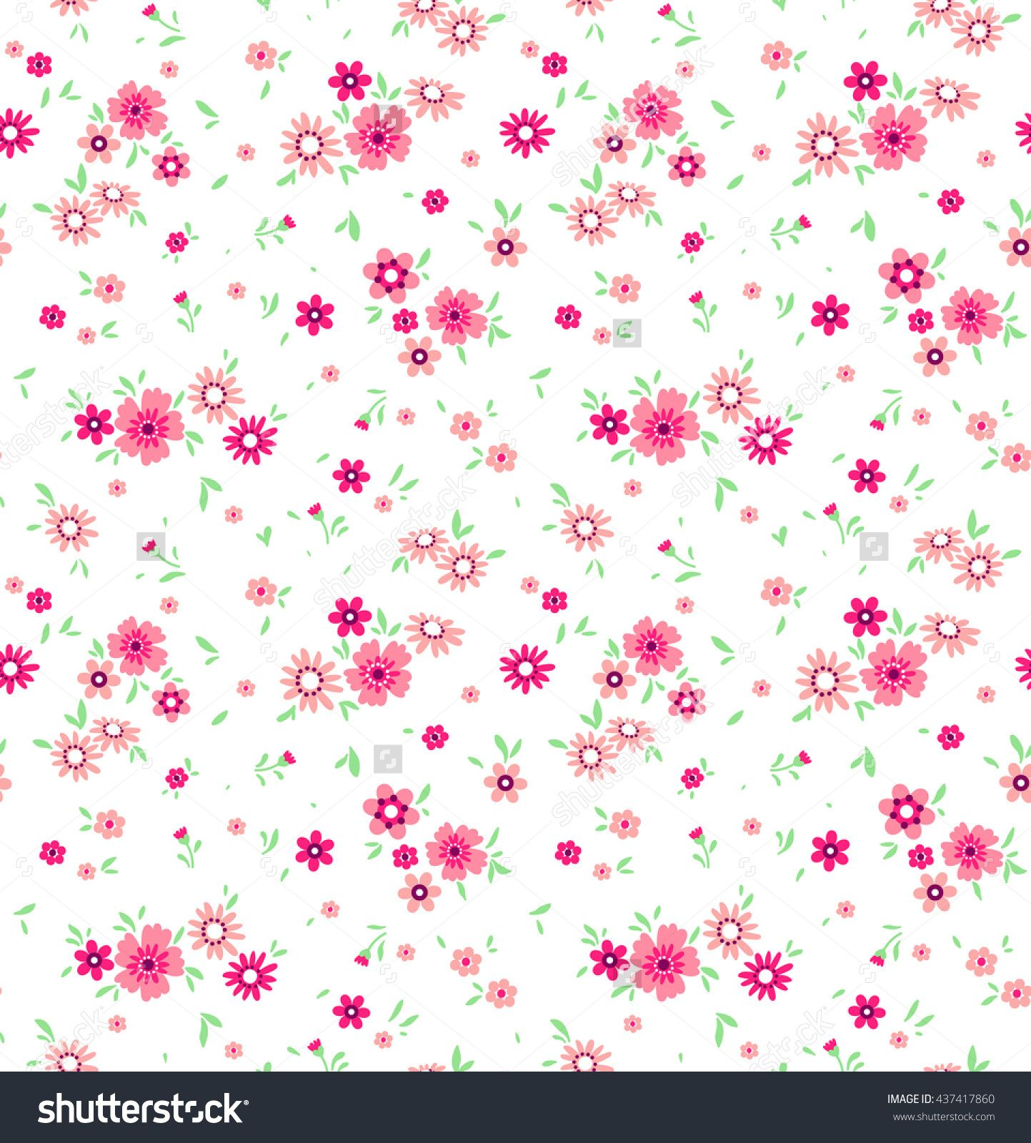 Cute Pattern In Small Flower. Small Pink Flowers. White