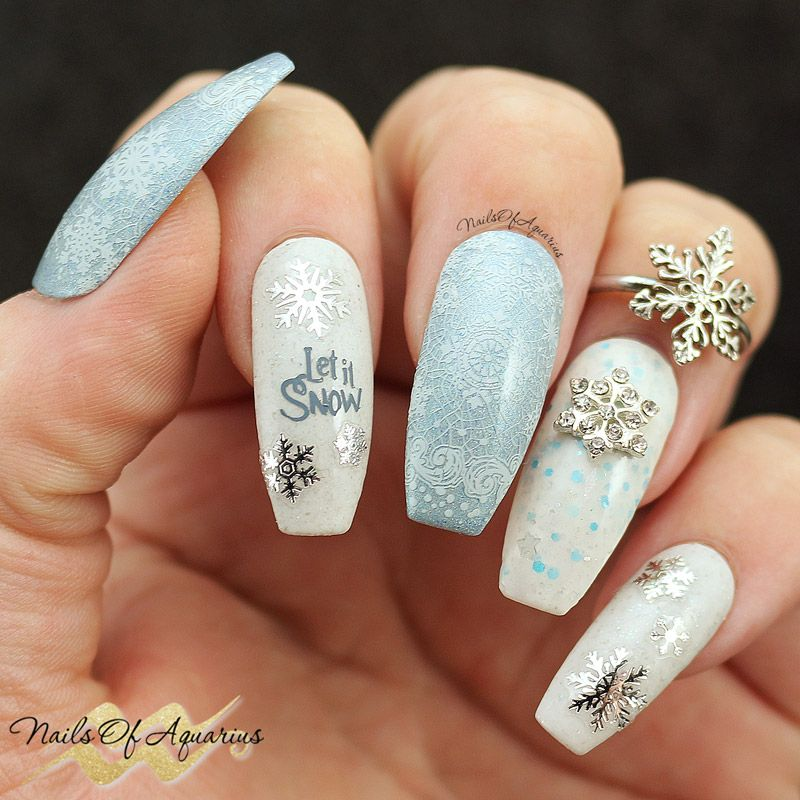 First Snow Winter Nail Art With Different Dimension Nail It