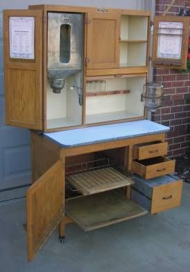 Oak Hoosier Style Mcdougall Cabinet W Flour Bin Jars Hoosier Cabinet Old Fashioned Kitchen