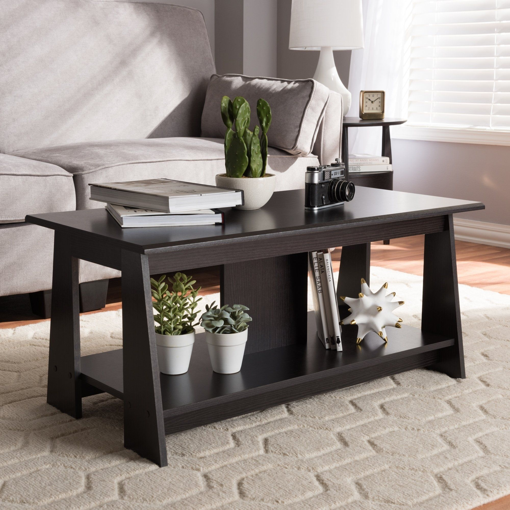 Contemporary Dark Brown Coffee Table By Baxton Studio Coffee Table Brown Coffee Table Contemporary Coffee Table