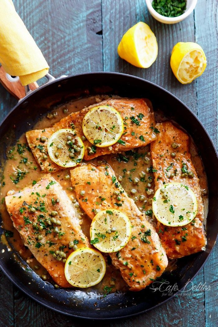 Easy Salmon Piccata Cafedelites Com Hcgrezepte Com Hcg Diat