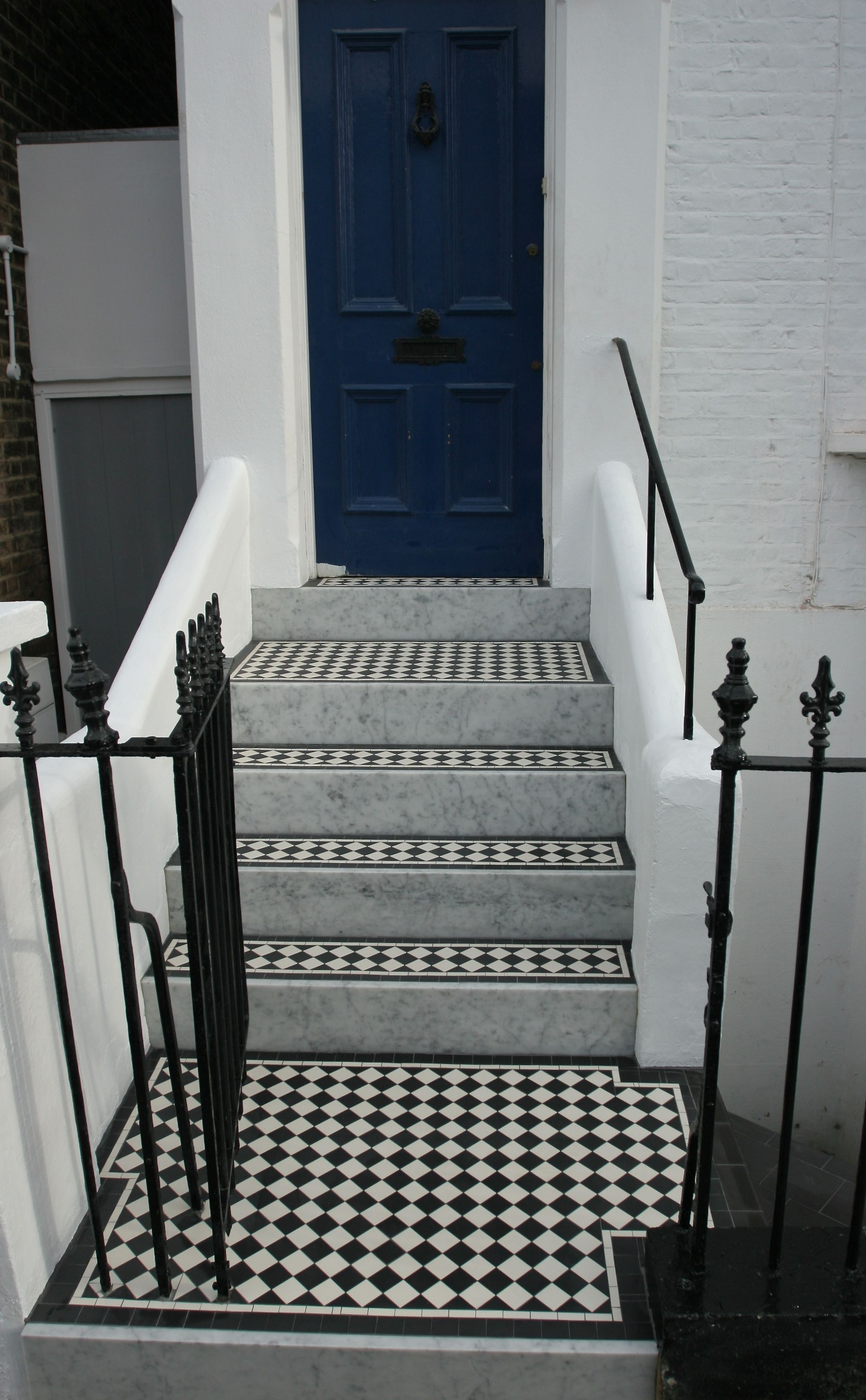 New Victorian Mosaic Floor Tiles For Steps And Pathway In Putney London Sw15 Sheeted 5cm Mosaics From Www M Victorian Front Garden Victorian Porch Tile Steps