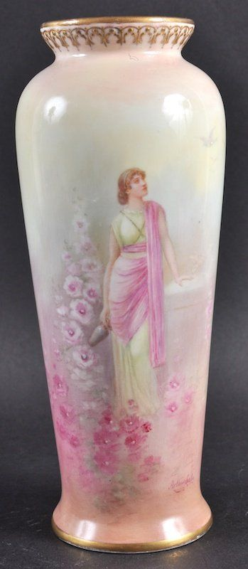 A Royal Doulton Vase Painted With A Young Classical On Royal