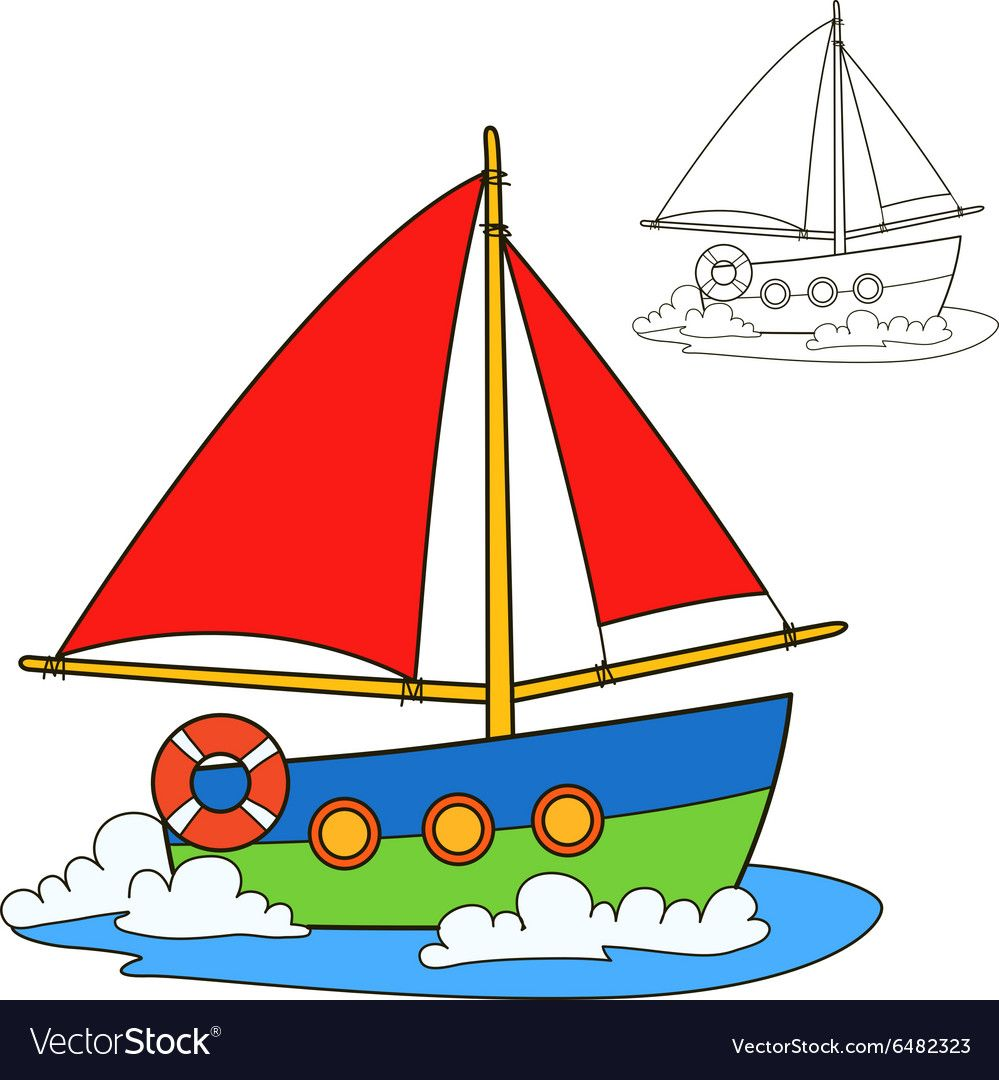 Sailing Vessel Coloring Book Page Vector Image On Coloring Books