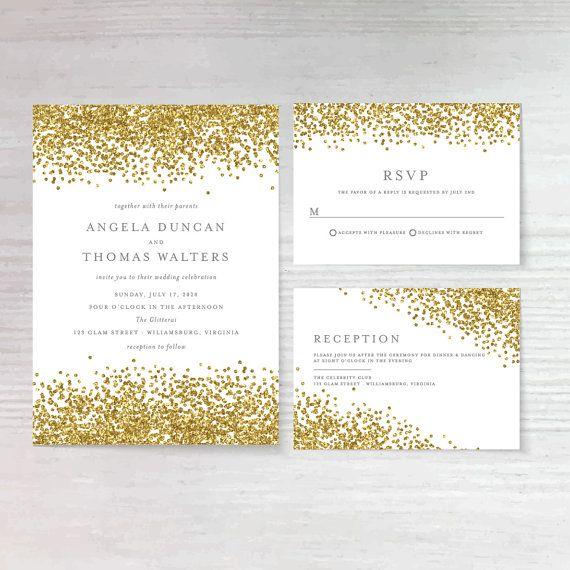 Faux Gold Confetti DIY Wedding Invitation by AffordableDIYWedding