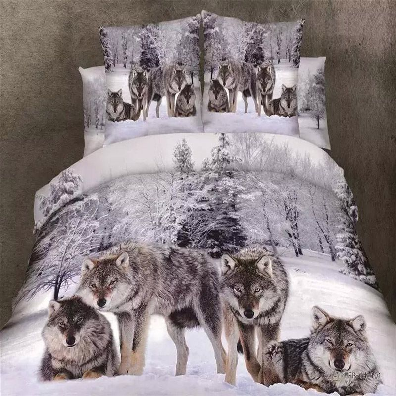 Ordinaire Snowflakes And Wolf Bedding Set Queen King Size Duvet Cover Bed Sheet  Pillowcase Pure Cotton 3D Animal Bedroom Textiles Set 4pcs #Affiliate