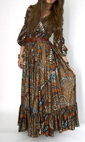 Mouse over image to zoom    1970's Vintage Hippy Bohemian Paisley Maxi Dress