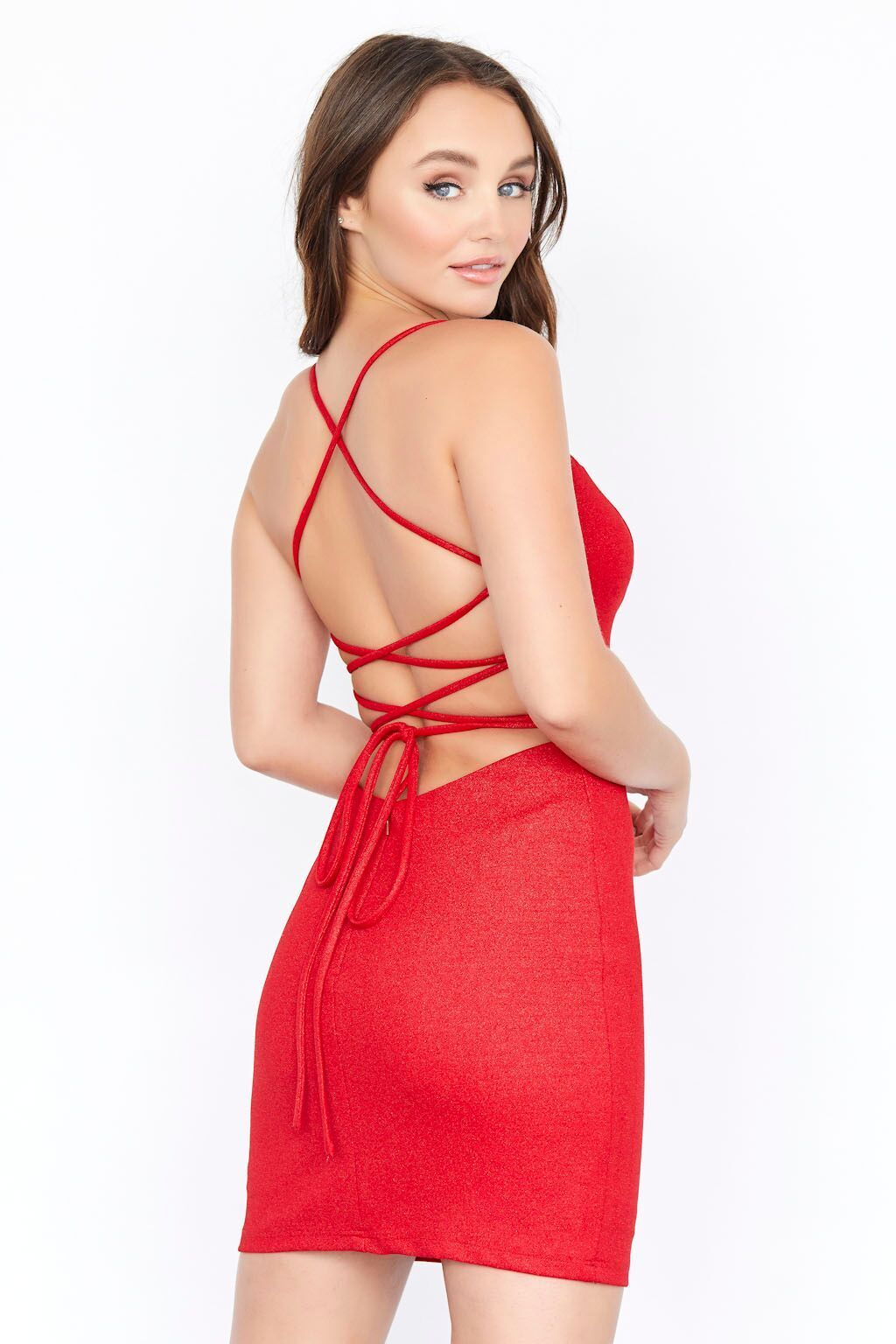 Jolene 19578 short fitted homecoming dress with plunging neckline and sheer mesh panel with an open back and criss cross tie straps in the back.
