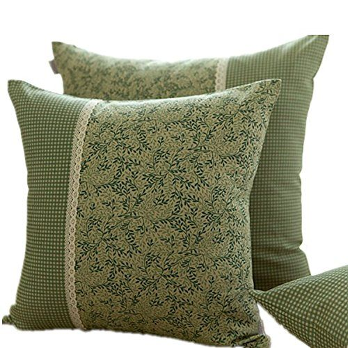 Green Leaf Garden Style Cotton Linen Sofa Pillow Cushion Cover DecorativeSeveral Size 177X177 *** Want additional info? Click on the image.