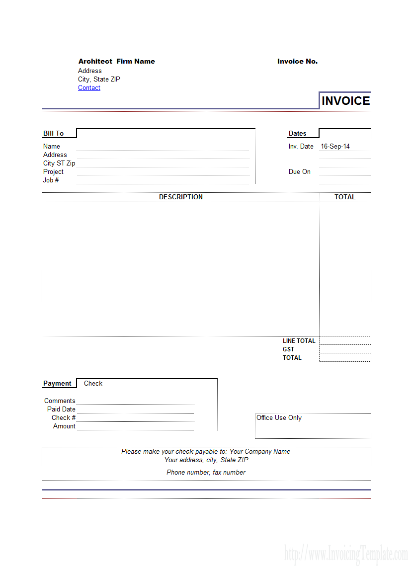 Architect Invoicing Sample Invoice Template Word Template Design Invoice Template Word