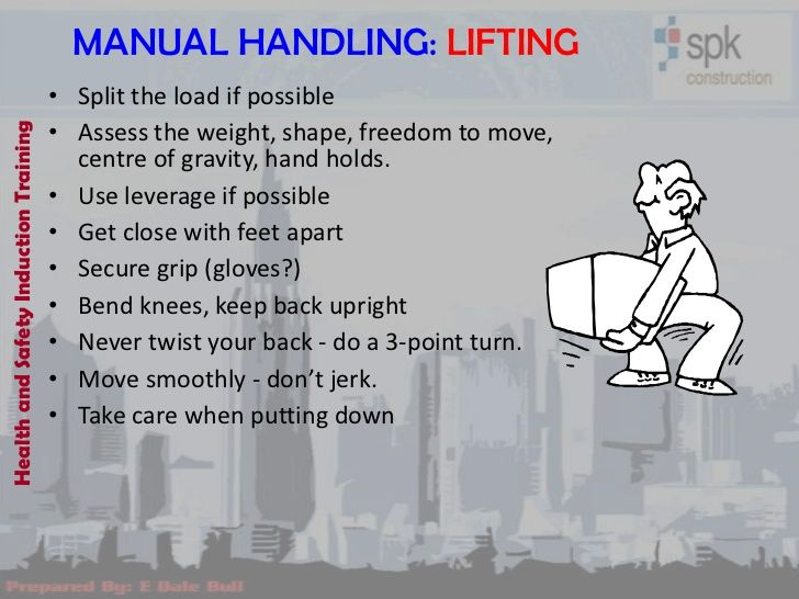 Manual Handling Lifting  Split The Load If Possible    Health