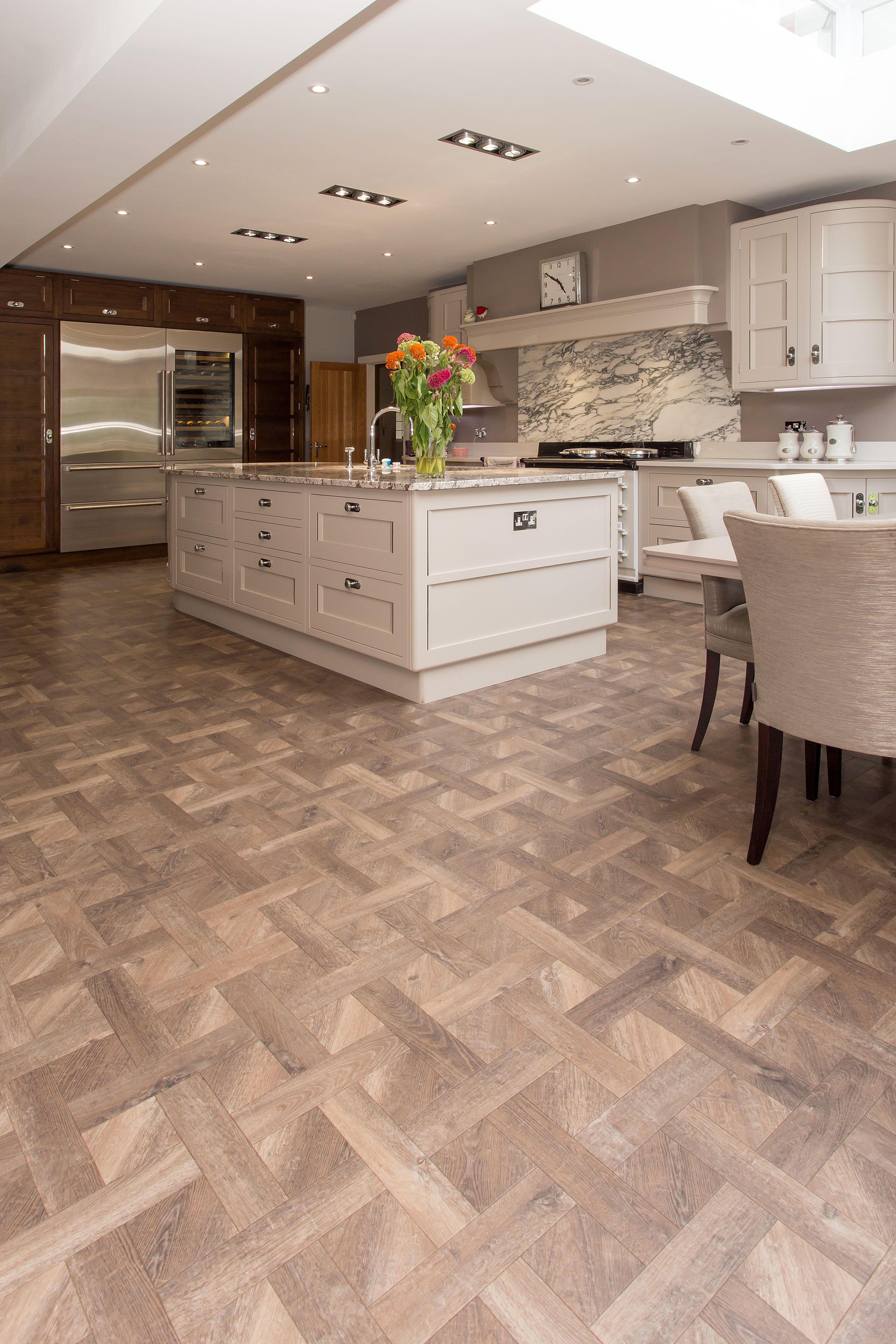 Amtico Signature Basketweave Luxury Vinyl Tile Flooring To Kitchen With Large Island Amtico Flooring Kitchen Amtico Flooring Luxury Vinyl Tile Flooring