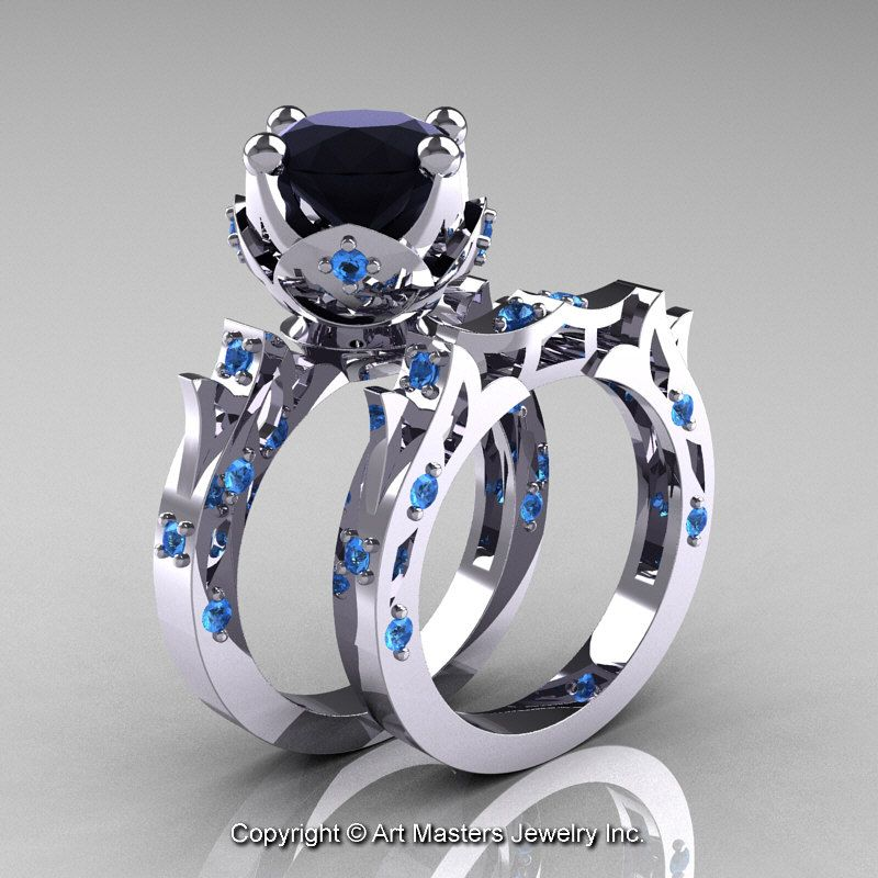 modern antique white gold carat black and white diamond solitaire wedding ring set perspective - Blue Wedding Ring Set