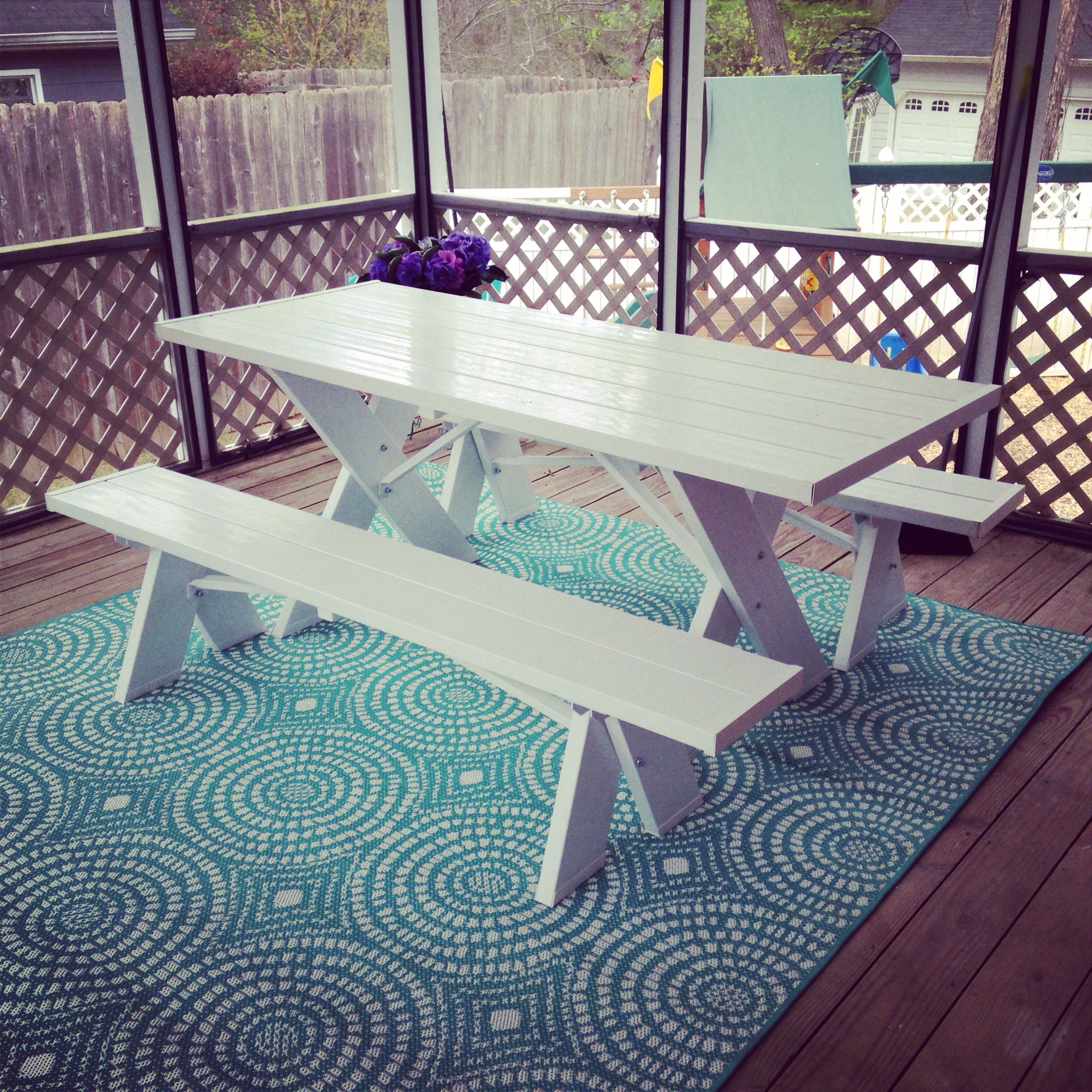 Target outdoor rug and amazon.com white picnic table. So ready for ...