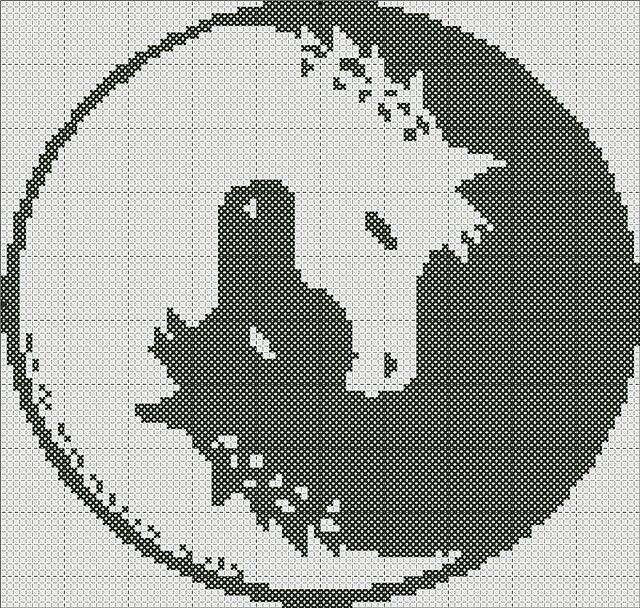Cross-stitch Ying Yang Horses...   Cheval