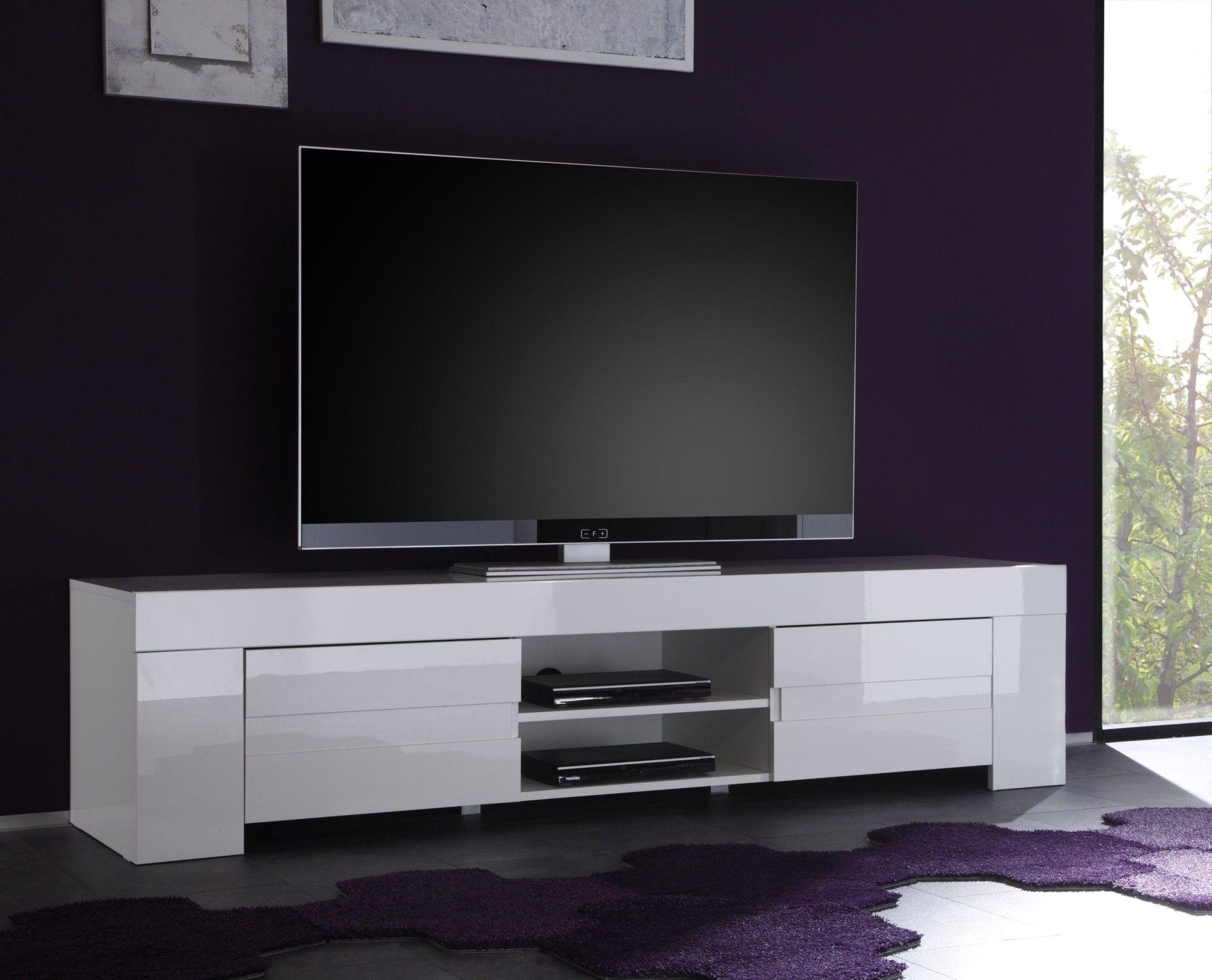 Magnifique Meuble Tv Design Pas Cher Blanc Décoration Française - Meuble tv blanc laque pas cher pour idees de deco de cuisine