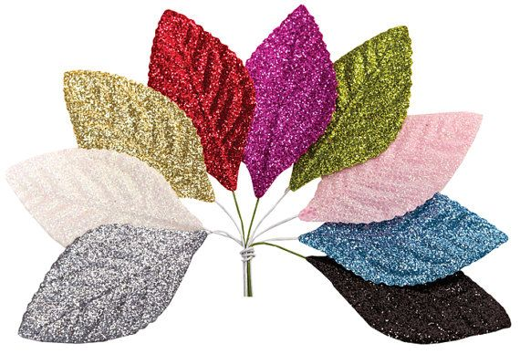 Glitter Leaves Millinery in Pink Blue White Gold by PomJoyFun, $11.00